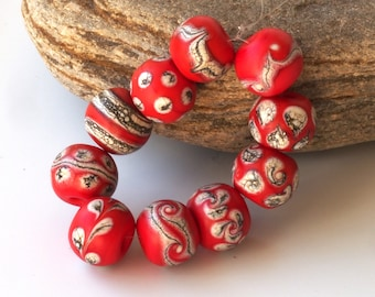 Coral Red Round Lampwork Beads - OOAK Glass Bead Set 10
