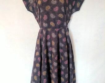 Vintage 1950s Print Dress, As Is
