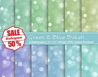 "SALE 5O% "" Green & Blue Bokeh "" Digital Paper, Scrapbook, Paper, 12x12, Printable,Bokeh,Pattern,Lighting,Glitter,Texture, Twinkle,Background"