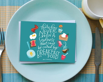 breakfast food greeting card // parks and recreation card // parks and rec card // ron swanson card // greeting card friend