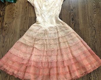 50s Ombre Party Dress / Lace Dress / 1950s Cocktail Dress / Pin up / Size XXS