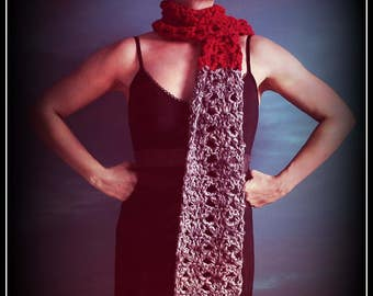 Crochet Scarf,Knit Scarf,Long Scarf,Handmade Scarves,Fashion Scarves,Neck wear,Mens Scarves,Neck Wrap,Neck warmer,Womens Scarves,Red,Grey,