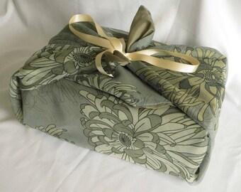 Chrysanthemum gift wrap, wedding gift wrap, floral, gift embellishment, romantic gift, present wrap, gift wrap set, fabric wrap, furoshiki