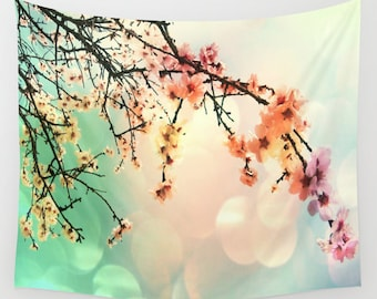 Cherry Tree Wall Tapestry, Wall Art, Sakura Tapestry, Modern, Home, Nature, Flower, Contemporary, Dorm, Colorful, Office, Cherry Blossom