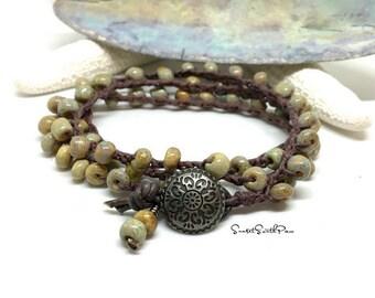 Boho Wrap Bracelet, Crochet Wrap Bracelet, Knotted, Boho Bracelet, Triple Wrap Bracelet, Crocheted Jewelry, Beaded Wrap, Earthy Wrap