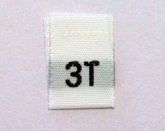 Size 3T (3 Toddler) Woven Clothing Size Tags (Package of 100)