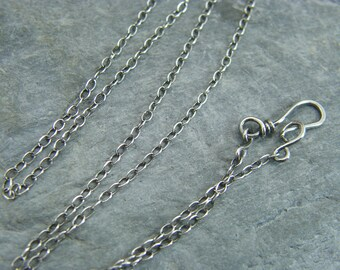 Sterling silver chain ~ Silver necklace ~ Sterling silver trace chain ~ Jewellery making supplies ~ Antique silver ~ Handmade clasp ~ Silver