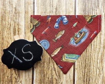Camping XS Dog Bandana. Outdoors dog bandana. Camping dog bandana. Fishing dog bandana. Fish dog bandana. XS dog bandana. Tiny dog bandana.