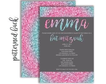 Custom Blue and Pink Glitter Bat Mitzvah Invitation