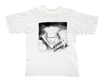 Vintage Street Fighter 2 Guile White T-Shirt Large Capcom 90s Super Nintendo SNES Video Game