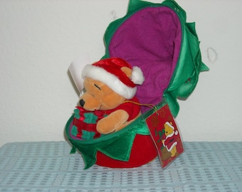 SALE! Disney Euro Pooh in a Zip Up Christmas Tree! Unzip the Tree Out Pops Pooh with A Present with a Santa Hat on. Sooo Cute! Europe Exc.