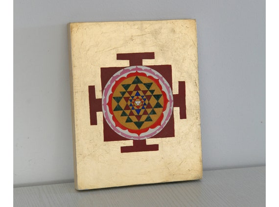 Sri Yantra tempera/gouache painting on wood