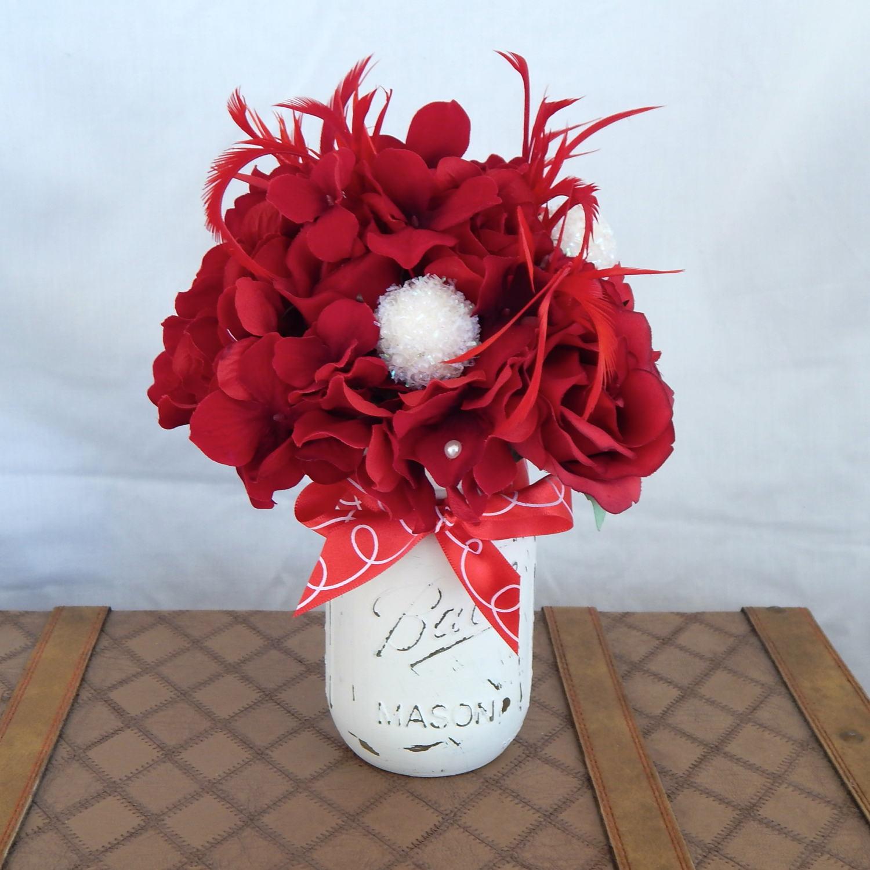Silk Flower Table Centerpiece White Mason Jar Bridal Shower