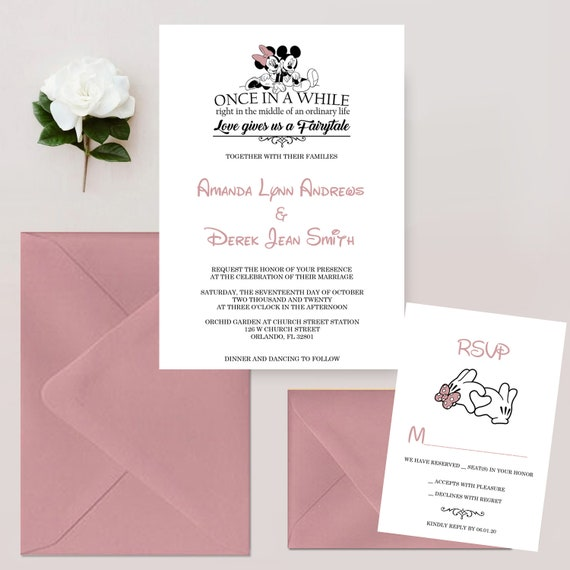 Mickey and Minnie Mouse Wedding Invitations Mickey and Minnie