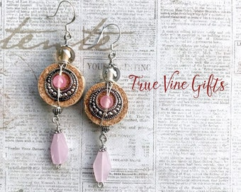Wine Cork Earrings in Silver and Pink