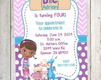 10 PRINTED Pink & Purple Doc McStuffins Invitations with Envelopes.  Free Return Address Labels