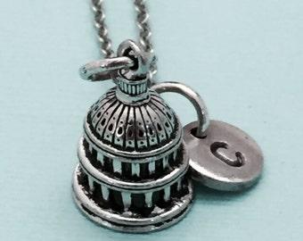 Capital necklace, capital charm, building necklace, personalized necklace, initial necklace, initial charm, monogram