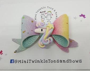 Rainbow unicorn hair bow