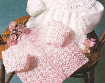 Baby Knitting Pattern pdf  2 Matinee Coats Plain and Fancy