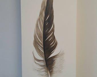 Great Blue Heron, Original Feather Painting, watercolor, original art, boho decor, home decor, modern design, nature art, beach decor