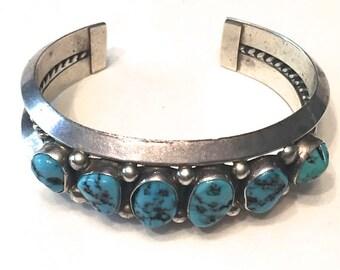 61 Gr. Vintage Sterling Silver Turquoise Cuff Bracelet Southwestern