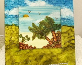 Tile, alcohol inks.  Palm trees, hand painted, decorative.