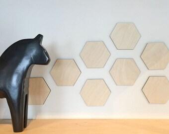 Hexagons - Wood Wall Art - Home Decor - Decorative Accessories - 10-piece Set - Scandinavian Style - MIXO Collection
