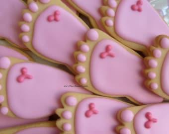 BABY FEET Cookies - Baby Shower Cookie Favors - Baby Feet Decorated Cookie Favors -1 Dozen