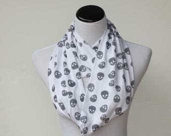 Skulls scarf white black Halloween skulls infinity scarf cute Gothic scarf jersey knit scarf gift idea for Gothic women and teenage girls