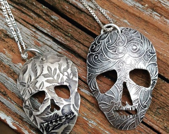 Large or Small Silver Skull Pendant, Flower Skull, Sugar Skull Necklace, Floral Skull, Hand Pierced, All Sterling Silver