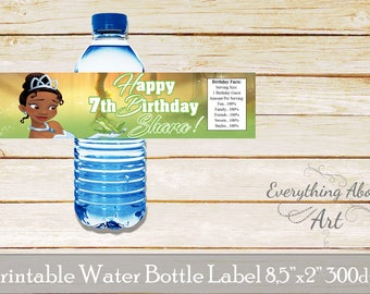 Tiana water bottle labels, Princess Tiana bottle labels, Princess and the frog water bottle labels, Party supplies, Printable labels