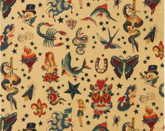 Tattoo in Tea, 100% Cotton Fabric, by Alexander Henry Fabric - see four colors