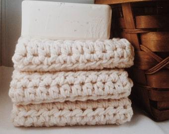 Thick Cotton Handmade Washcloths - Cream