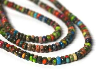 Mixed Impression Jasper Rondelles, 4mm x 2mm colorful gemstone rondelle bead, FULL strand (1113S)