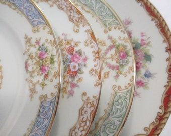 Vintage Mismatched China Dessert / Bread Butter Plates for Tea Party, Bridal Luncheons, Showers, Hostess Gift, Bridesmaid Gift-Set of 4