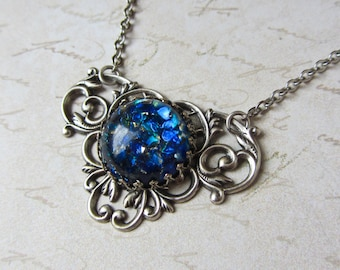 Blue Fire Opal Necklace Victorian Necklace Silver Ox