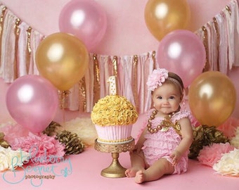 Pink and gold birthday banner - photography prop, cake smash, backdrop, curtain valance