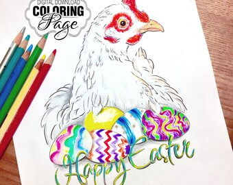 Coloring Page, Happy Easter Chicken with Eggs, Hen on Nest of Eggs, Digital Download Jpg File, A4 (HappyEaster01)