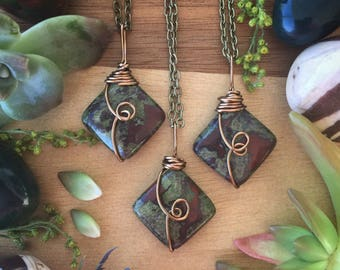 Dragons blood japser necklace,   Blood jasper necklace, gemstone necklace