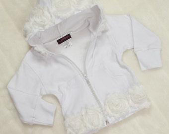 White Baby Girl Hoodie One Piece White Hoodie with Off White Chiffon