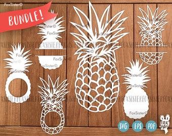 Monogram Pineapples SVG / PDF Papercut Template Bundle | Tropics | Summer | Commercial use | fruits | Cut files | Cricut | Silhouette