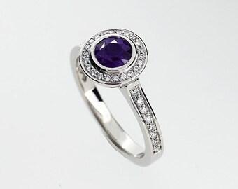 Purple spinel halo engagement ring, diamond, white gold, yellow gold, spinel engagement, bezel, vintage, diamond halo, purple engagement