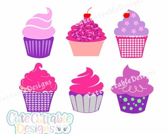 Cupcake SVG Cut Files, Cupcake Cutting Files for Cricut, Silhouette and other Vinyl Cutters, SVG files