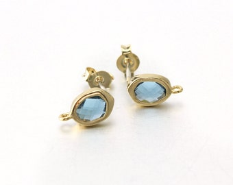 Montana Glass Post Earring . 925 Sterling Silver Post . 16K Polished Gold Plated over Brass  / 2 Pcs - CG048-PG-MN