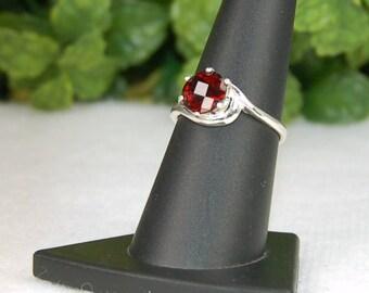 Garnet Ring, Size 7.5, Merlot Red, Checkerboard Cut, Sterling Silver, January Birthstone, Wine Red Garnet, Natural Garnet, Red Garnet Ring