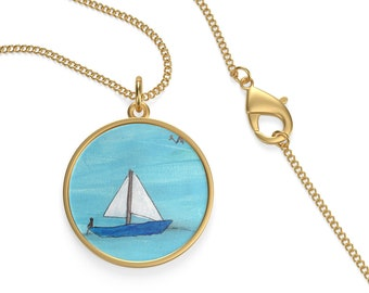 Sail Boat Necklace, Art Necklace, Ocean Art Necklace, Sterling Silver, Pendant Necklace, Gift for Her, Sailor Necklace, Nautical Jewelry