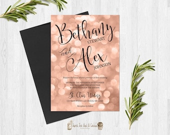 Rose Gold Wedding Invitation Printable Digital File or Prints with Free Shipping Bokeh Elegant Announcements Blush Pink