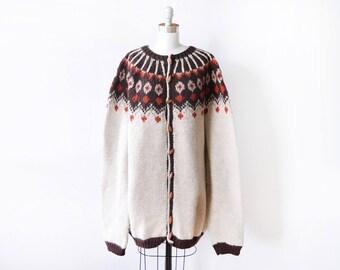 fair isle cardigan, vintage 70s Scandinavian sweater, Nordic wool toggle cardigan, brown + orange chunky knit, medium large xl, unisex
