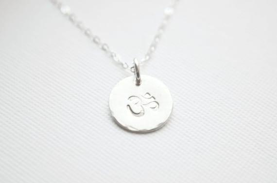 Dainty Silver OM Necklace - Sterling Silver Ohm Necklace   Yoga Jewelry Namaste   Disc Pendant Necklace   Meditation Charm Necklace