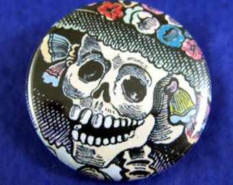 2 Catrina Close-Up Day of the Dead Pinback Buttons